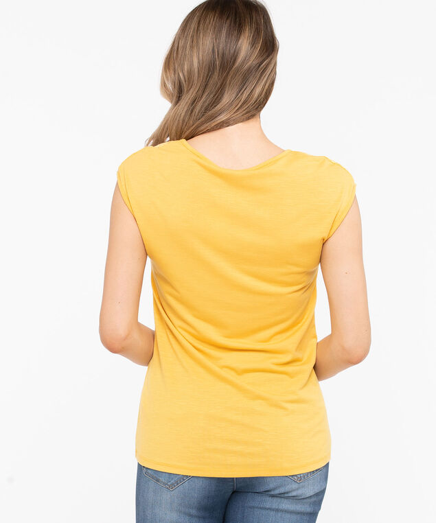 Lace Detail V-Neck Tee, Gold, hi-res