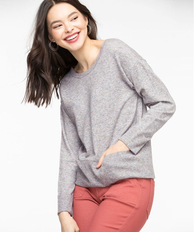 Scoop Neck Pocket Hem Sweater, Light Grey Mix
