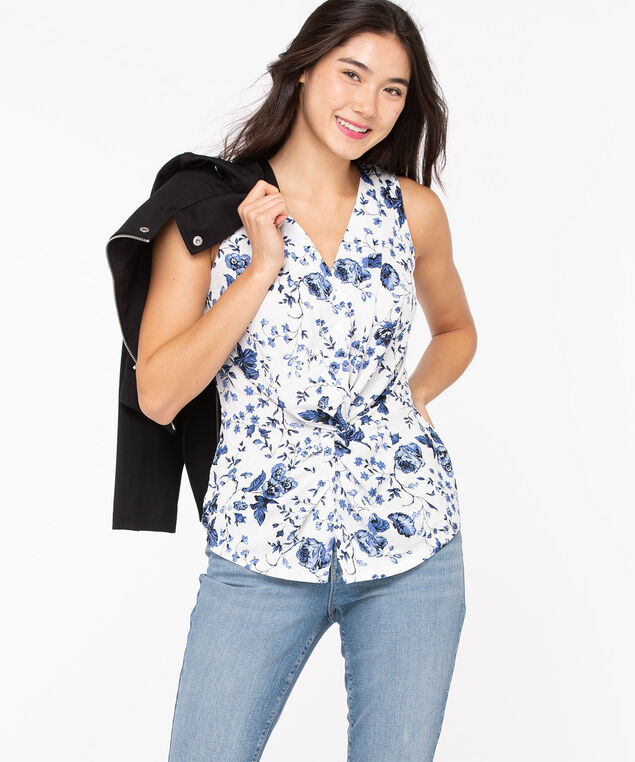Floral Print Knot Front Top, Blue/Pearl