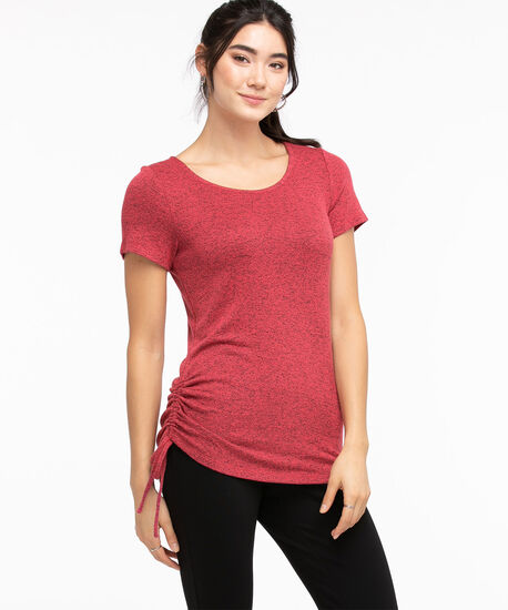 Side Ruched Hacci Tee, Carmine/Black Mix, hi-res