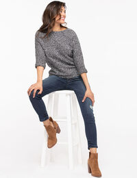 Rolled Dolman Sleeve Pullover Sweater