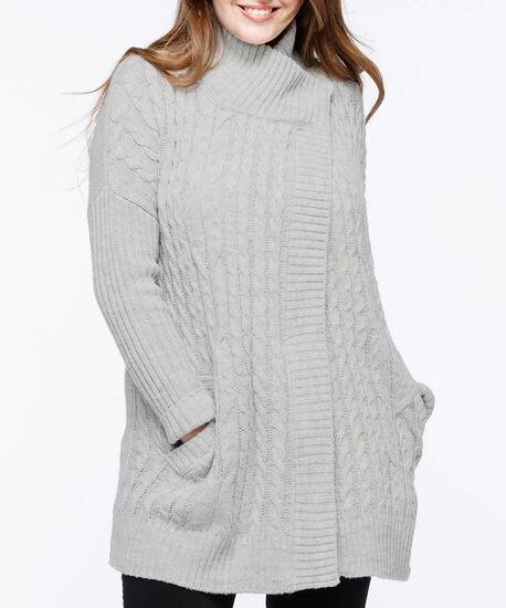 Cable Knit Funnel Neck Cardigan, Silver Grey, hi-res