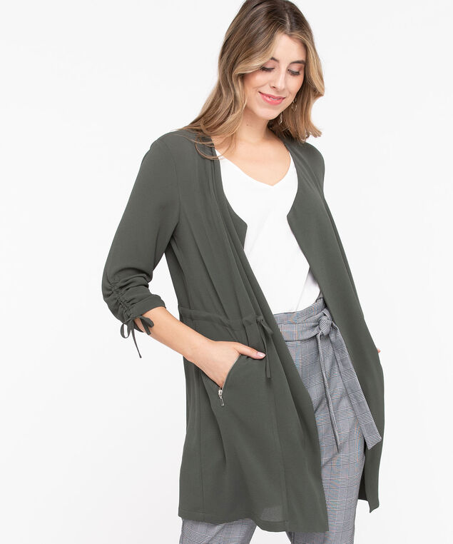 Drape Front Longline Cover Up, Basil, hi-res