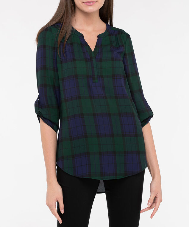 Roll Sleeve Henley Blouse, Deep Green/True Navy, hi-res