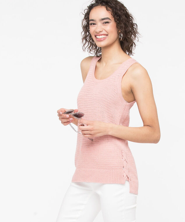 Sleeveless Criss Cross Trim Sweater, Blossom, hi-res