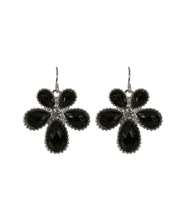 Gem Flower Earring, Black/Rhodium, hi-res