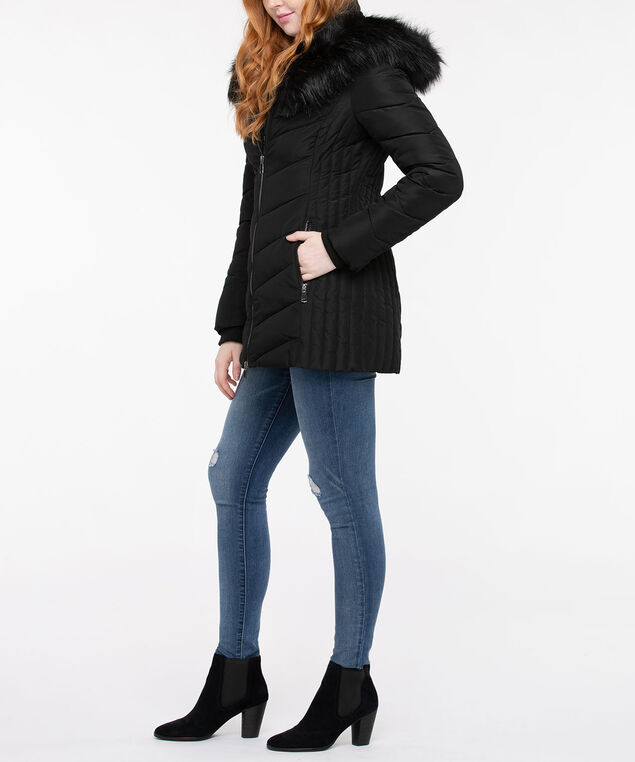 """Bunny Fur"" Chevron Faux Down Jacket, Black, hi-res"