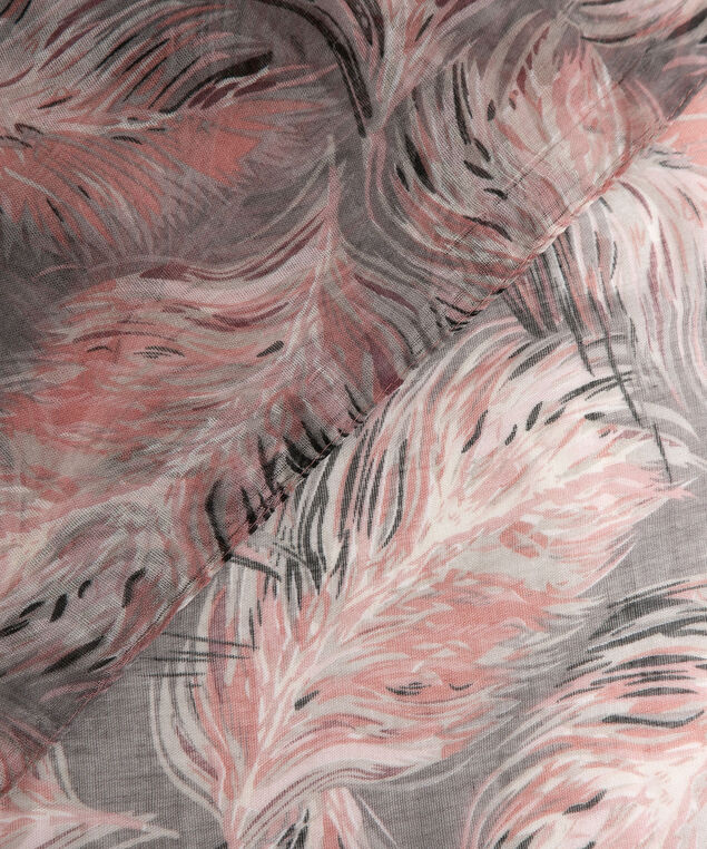 Feather Print Oblong Scarf, Dusty Blush/Mid Heathered Grey, hi-res