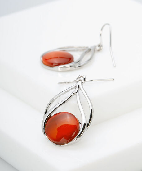 Circle Cateye Earring, Orange, hi-res