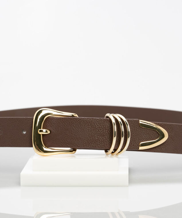 Western Buckle Pant Belt, Brown/Gold, hi-res