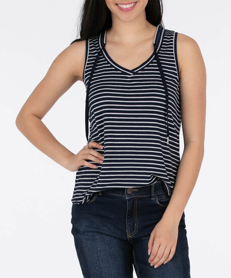 Sleeveless Striped V-Neck Top, Summer Navy/Pearl, hi-res