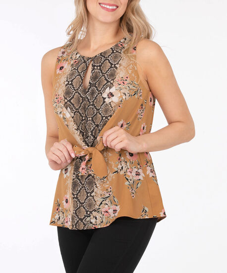 Sleeveless Tie-Front Blouse, Cognac/Petal Pink/Brown, hi-res