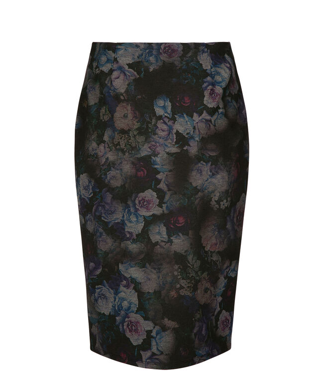 Carole Wren Ponte Pencil Skirt, Black/Teal/Purple Print, hi-res
