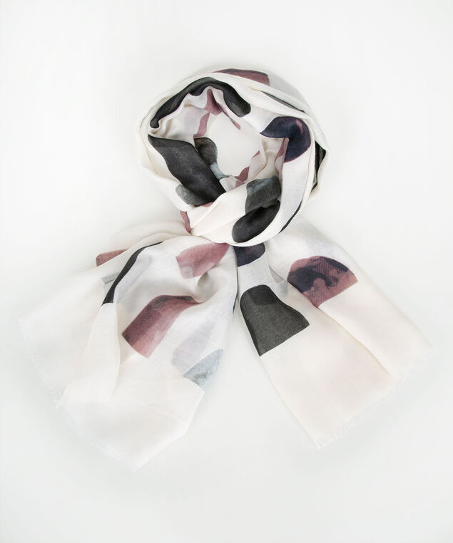Spotted Oblong Scarf, White/Pink/Blue, hi-res