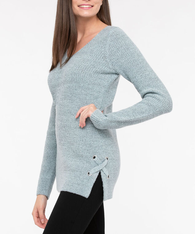 Lace Up Detail V-Neck Sweater, Sea Foam, hi-res