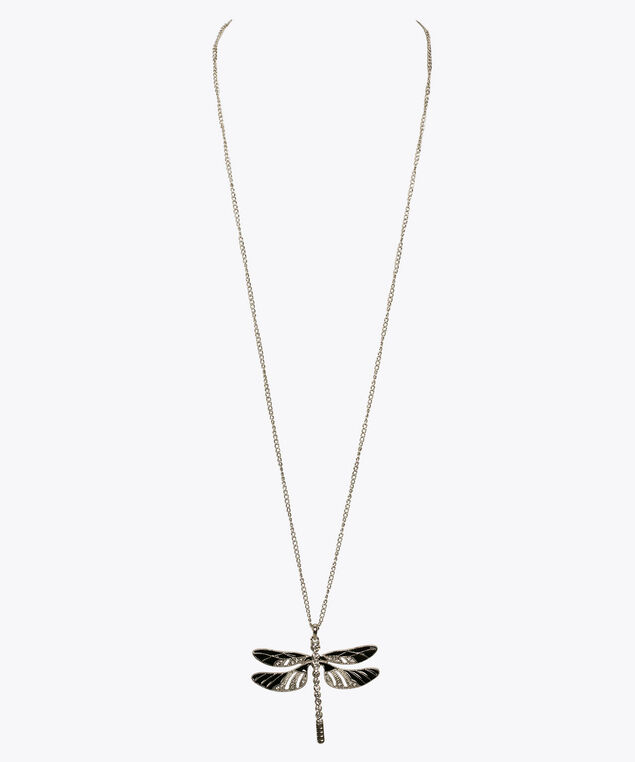 Dragonfly Pendant Necklace, Black/Rhodium, hi-res