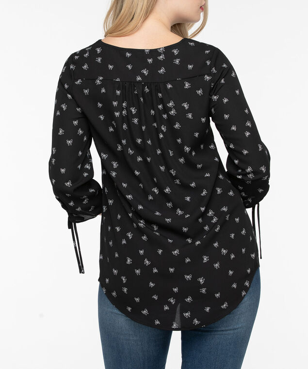 Cross Neck Ruched Sleeve Blouse, Black/Pearl, hi-res
