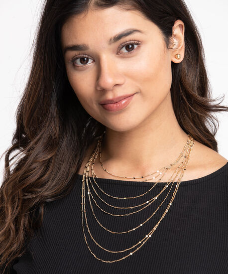Multi-Chain Layered Necklace and Earring Set, Gold, hi-res