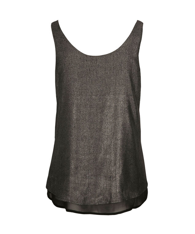 Metallic Double-V Sleeveless Blouse, Silver/Black, hi-res