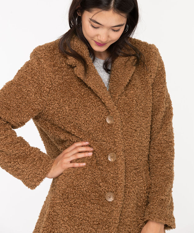 Teddy Bear Faux Fur Coat, Camel, hi-res