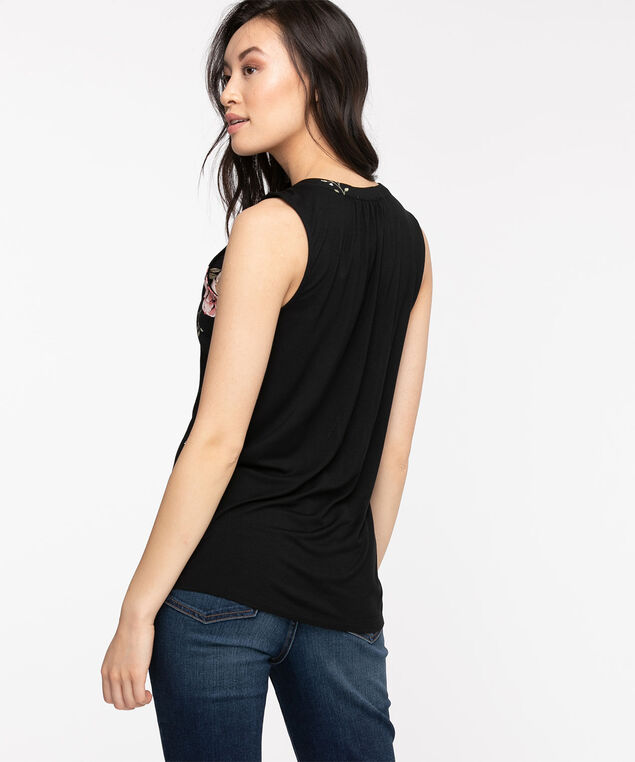 Sleeveless Ruched Button Front Top, Black Floral Print