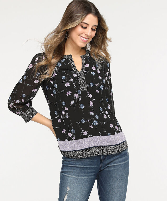 Twin Print Henley Blouse, Black/Lavender/Soft Blue, hi-res