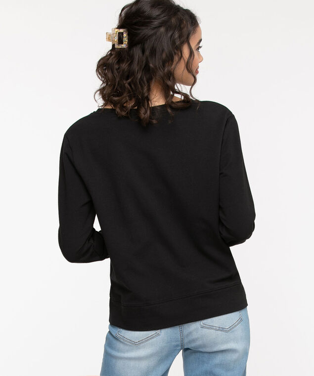 Cotton Blend French Terry Pullover, Black