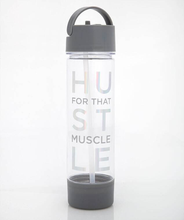 Hustle For That Muscle Water Bottle, Grey, hi-res
