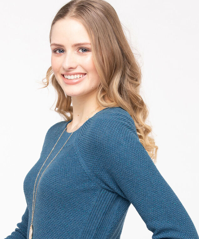Ribbed Trim Cotton Sweater, Midnight Teal Mix, hi-res