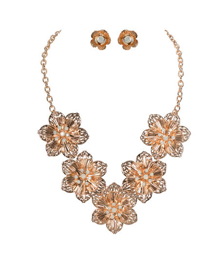 Metal Flower Statement Necklace Set, Soft Rose Gold, hi-res