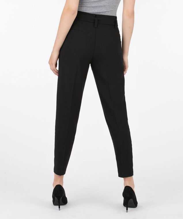 Crepe Paper Bag Waist Ankle Pant - Short, Black, hi-res