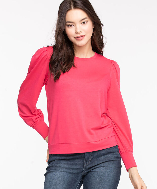 Puff Sleeve Pullover Knit Top, Rouge Red