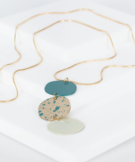 Three Tiered Painted Metal Necklace, Gold/Soft Teal, hi-res