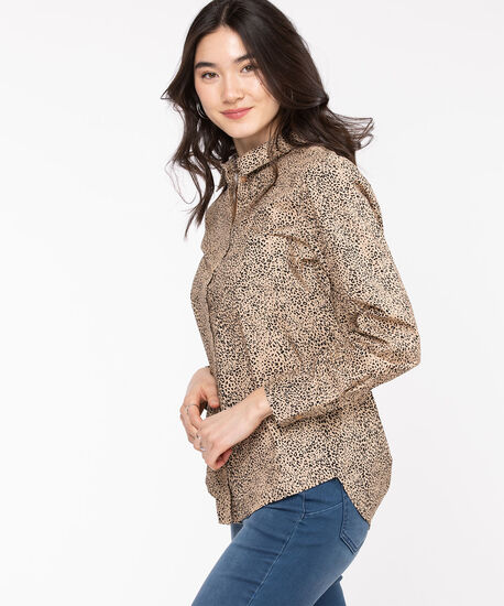 Classic Collared Button-Up Shirt, Nomad/Black Animal Print, hi-res