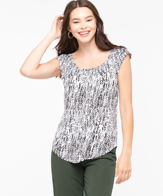 Gathered Scoop Neck Top, Pearl/Sand/Black, hi-res