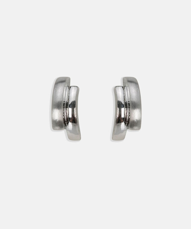 Brushed Metal Earring, Rhodium, hi-res