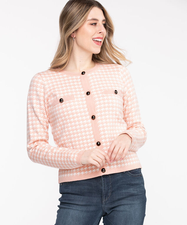 Houndstooth Button Front Cardigan, Peach Pink/White
