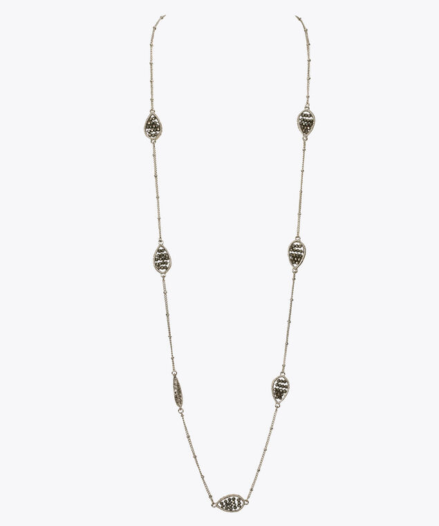 Stationed Stone Teardrop Frame Necklace, Rhodium/Hematite, hi-res