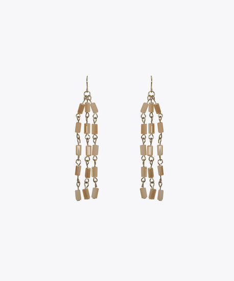 Taupe Bead Tassel Earring, Taupe/Soft Gold, hi-res