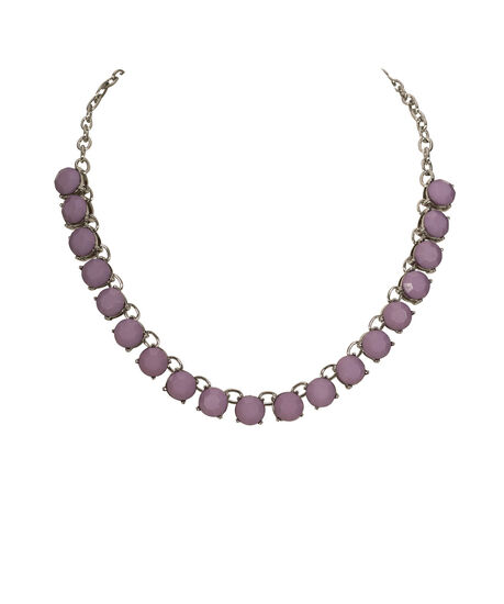 Faceted Stone Collar Necklace, Iced Violet/Rhodium, hi-res