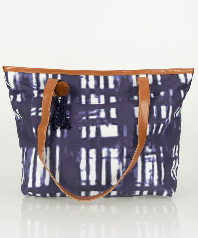Tie-Dye Beach Tote, Navy/White, hi-res