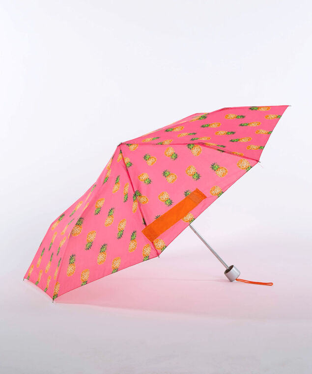Pineapple Print Umbrella, Bright Pink, hi-res