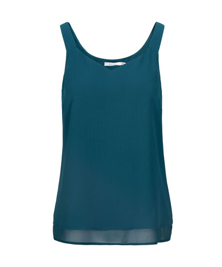 Layered Sleeveless Blouse, Midnight Teal, hi-res