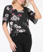 Scoop Neck 3/4 Sleeve Blouse, Black/Pearl/Pink/Primrose, hi-res