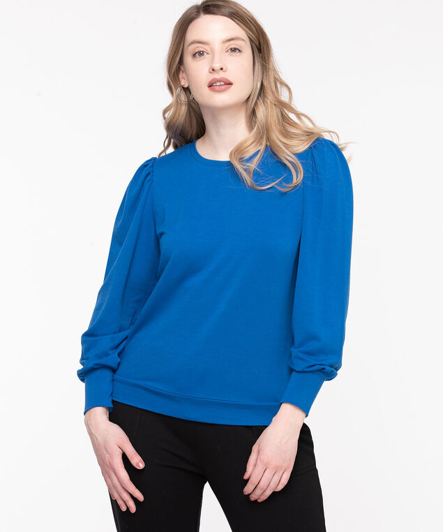 Puff Sleeve Pullover Knit Top, Classic Blue