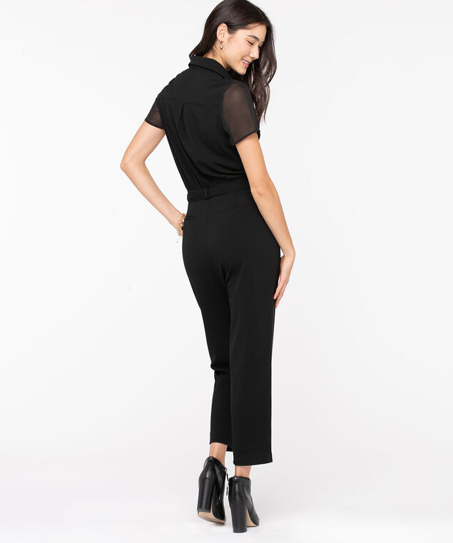 Collared Tie Waist Jumpsuit, Black, hi-res