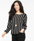 Striped Scoop Neck Blouse, Black/Ivory, hi-res