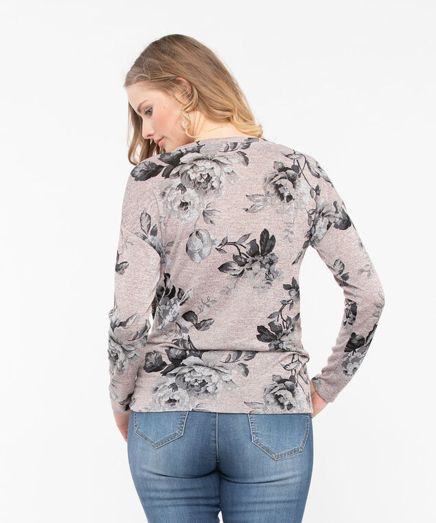 Knot Front Lightweight Knit Top, Rose Petal/Heather Grey, hi-res