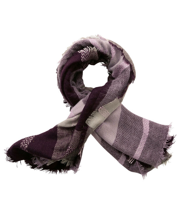 Plaid Square Blanket Scarf, Blackberry/Amethyst/Grey, hi-res