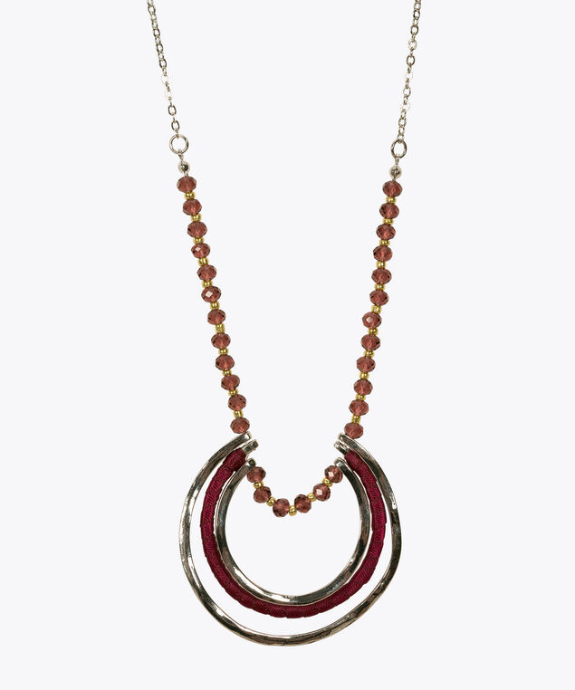 Seed Bead & Hoop Pendant Necklace, Deep Purple/Rhodium/Gold, hi-res